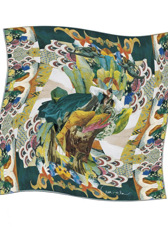 100% Luxury Silk Scarf Anarela Colibrí