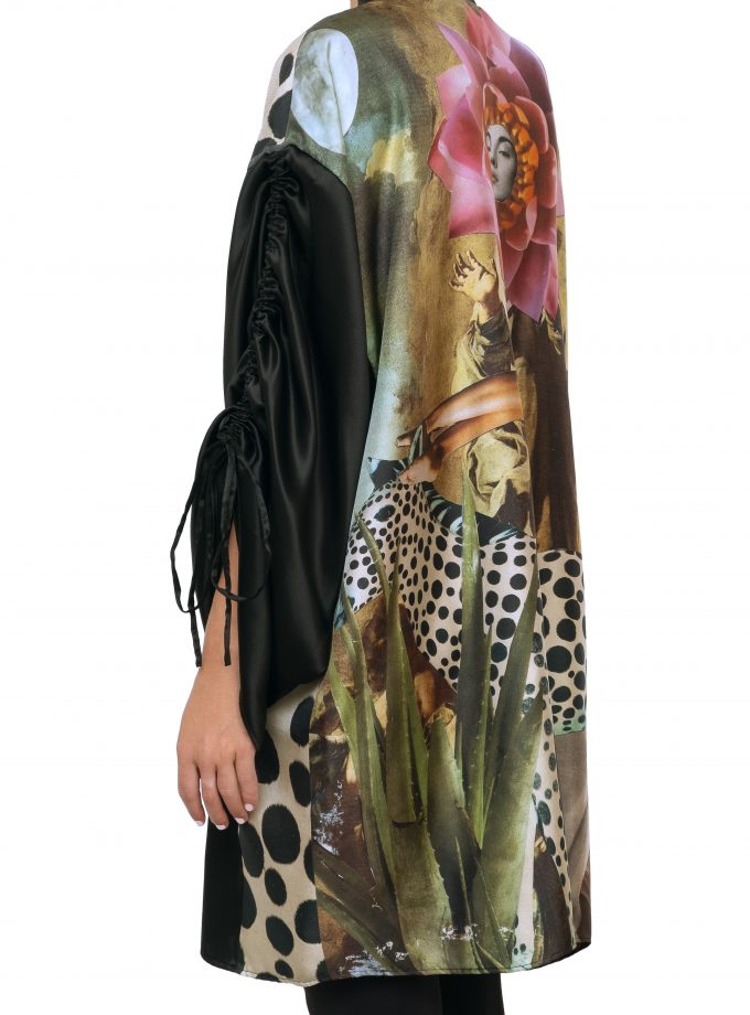 Silk kimono anarela black one side